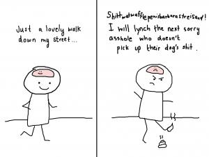 step on poop angry