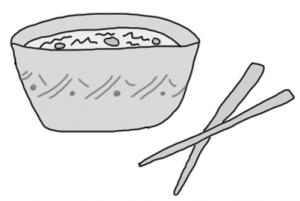 greyscale black and white food bowl thai chopsticks